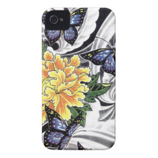 Yellow Peony and Butterfly Tattoo Design iPhone 4 Cover