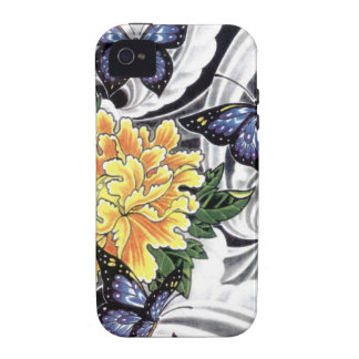 Yellow Peony and Butterfly Tattoo Design iPhone 4 Covers