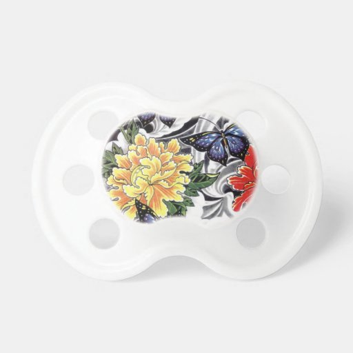 yellow peony and butterfly tattoo design pacifier zazzle. Black Bedroom Furniture Sets. Home Design Ideas