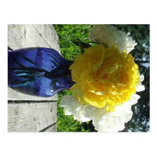 Yellow Peony Flower in Blue Vase Postcard