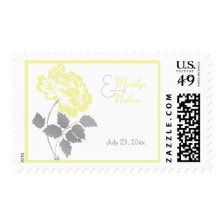 Yellow Peony with Gray and White Postage
