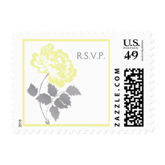 Yellow Peony with Gray and White RSVP Postage