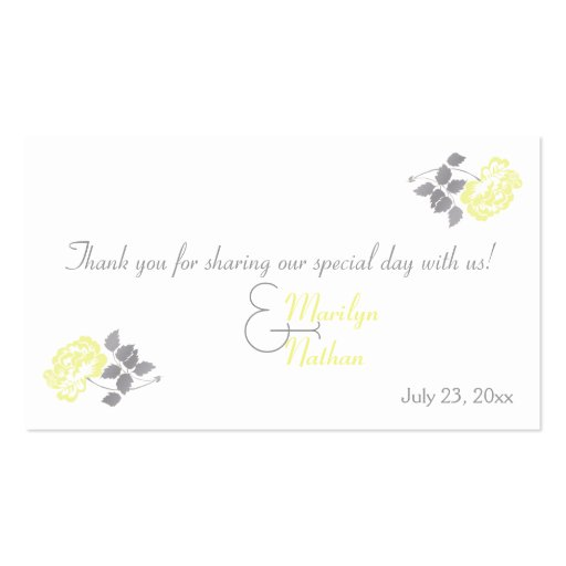 Yellow Peony with White and Gray Wedding Favor Tag Business Card Templates