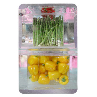 Yellow peppers in ice magnet