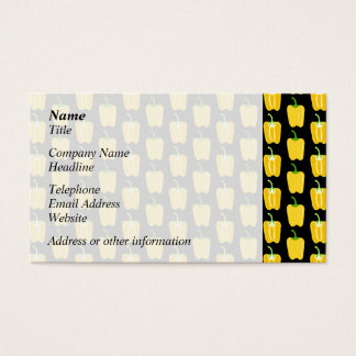 Yellow Peppers Pattern. On Black. Business Card