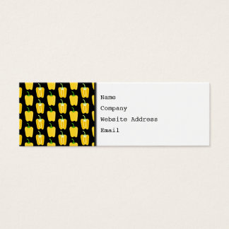 Yellow Peppers Pattern. On Black. Mini Business Card
