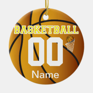 Yellow Personalize Basketball Number Ornament