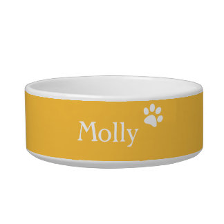 Yellow  | Personalized Cat Dish
