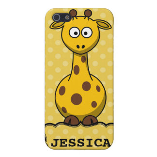 Yellow Personalized Cute Giraffe Clipart Case For iPhone SE/5/5s