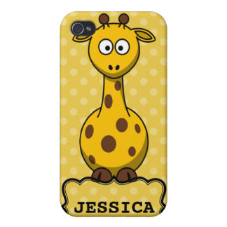 Yellow Personalized Cute Giraffe Clipart Cases For iPhone 4