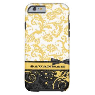 Yellow Personalized Damask iPhone 6 case