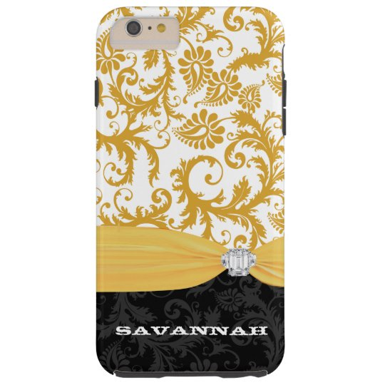 Yellow Personalized Faux Rhinestone Damask iPhone Tough iPhone 6 Plus Case