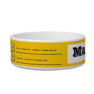 Yellow pet feeding medication guide bowl