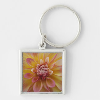 Yellow Petal Keyring Silver-Colored Square Keychain