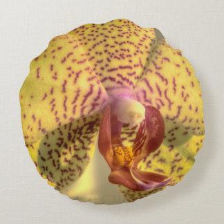 Yellow Phalaenopsis Purple Spots Round Pillow
