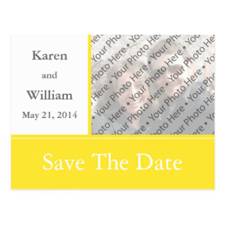 Yellow Photo Wedding Save the Date Invite Postcard