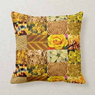 Yellow photography collage throw pillow