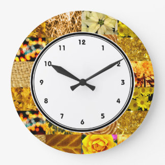 Yellow photography collage wall clock with numbers