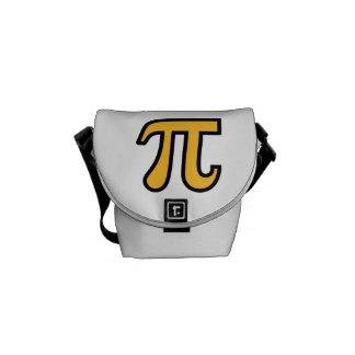 Yellow Pi symbol Messenger Bags