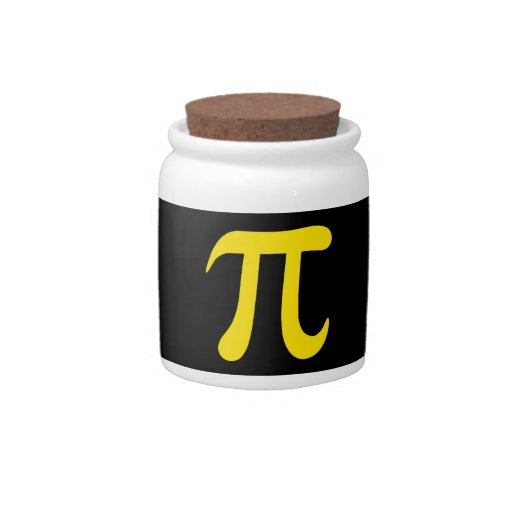 Yellow pi symbol on black background candy dishes