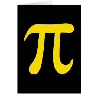 Yellow pi symbol on black background card