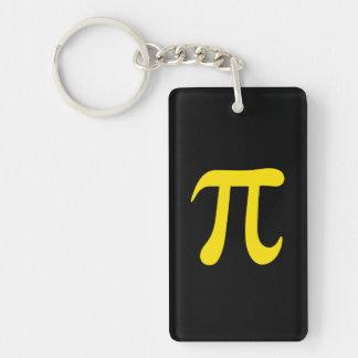 Yellow pi symbol on black background Single-Sided rectangular acrylic keychain