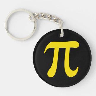 Yellow pi symbol on black background Single-Sided round acrylic keychain