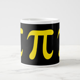 Yellow pi symbol on black background large coffee mug
