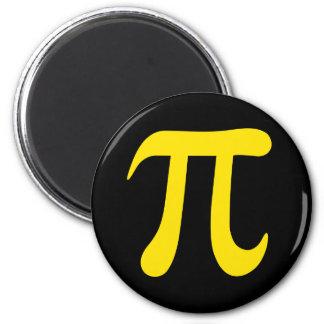 Yellow pi symbol on black background refrigerator magnets