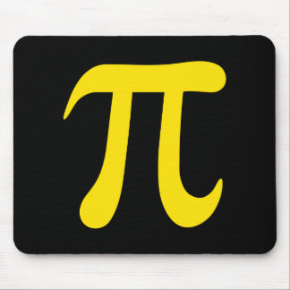 Yellow pi symbol on black background mouse pad