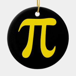 Yellow pi symbol on black background Double-Sided ceramic round christmas ornament