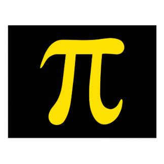 Yellow pi symbol on black background post card