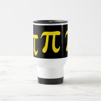 Yellow pi symbol on black background travel mug