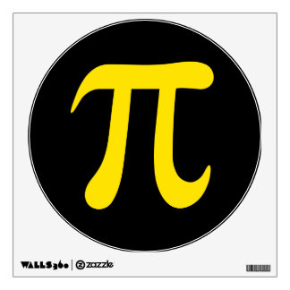 Yellow pi symbol on black background wall sticker
