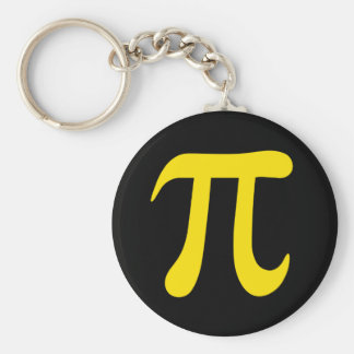 Yellow pi symbol on black keychain or keyring