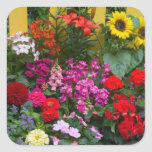 Yellow picket fence with flower garden in square sticker
