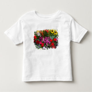 Yellow picket fence with flower garden in toddler t-shirt