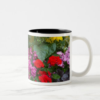 Yellow picket fence with flower garden in Two-Tone coffee mug