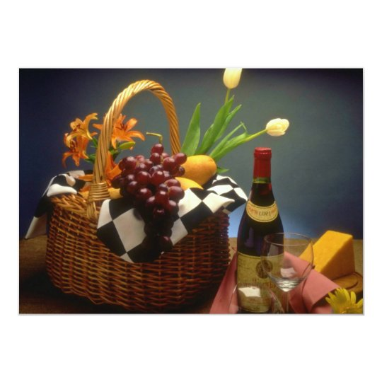 Yellow Picnic basket with wine, cheese, bread and Card