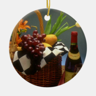 Yellow Picnic basket with wine, cheese, bread and Ceramic Ornament
