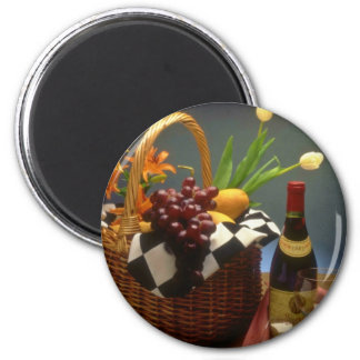 Yellow Picnic basket with wine, cheese, bread and Magnet