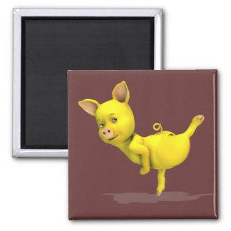 Yellow Pig Arabesque 2 Inch Square Magnet
