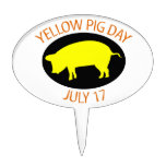 Yellow Pig Day Cake Topper