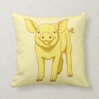 Yellow Pig Day July 17 Cute Piglet Throw Pillow