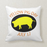 Yellow Pig Day Pillow
