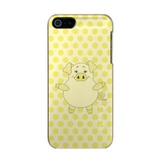 Yellow Pig Polkadots Metallic iPhone SE/5/5s Case