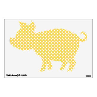 Yellow Piggy Polka Dots Wall Decal