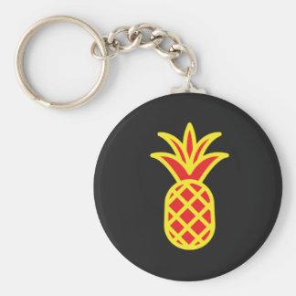 Yellow Pine Apple in Black Keychain