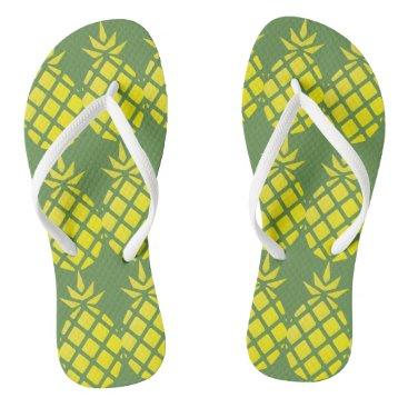 Beach Themed Yellow Pineapple Pattern Flip Flops