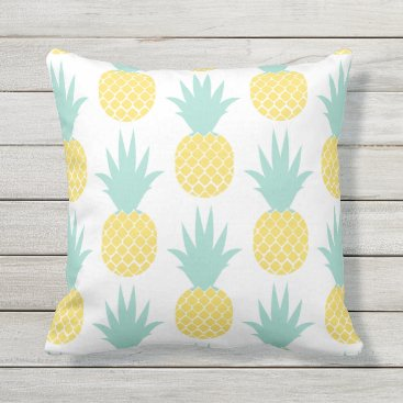 Beach Themed Yellow Pineapple Patterned Outdoor Pillow